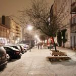 Blick in die Oderberger Str. mit Schnee
